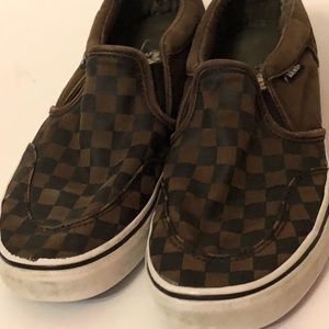 Vans Shoes - VANS Classic Slip Brown Checkered Shoes Men Sz 7.5 016b02419